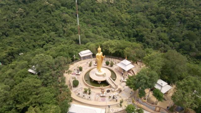 ariel views of wat khao bhudda kodom temple located chonburi province and landmark of buddha statue, thailand - chonburi province stock videos & royalty-free footage