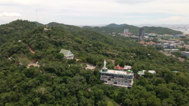 ariel views of wat khao phra kru temple located chonburi province and landmark of buddha statue, thailand - chonburi province stock videos & royalty-free footage