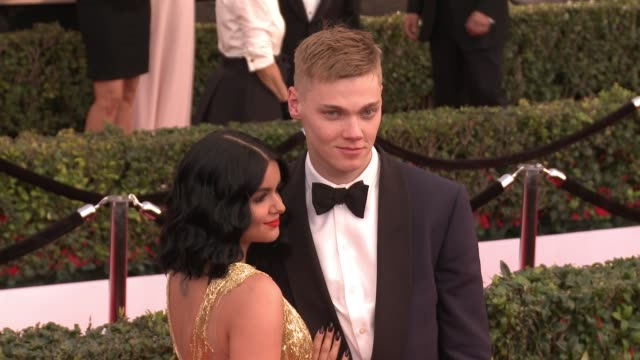 ariel winter and levi meaden at 23rd annual screen actors guild awards arrivals at the shrine expo hall on january 29 2017 in los angeles california - ariel winter stock videos and b-roll footage