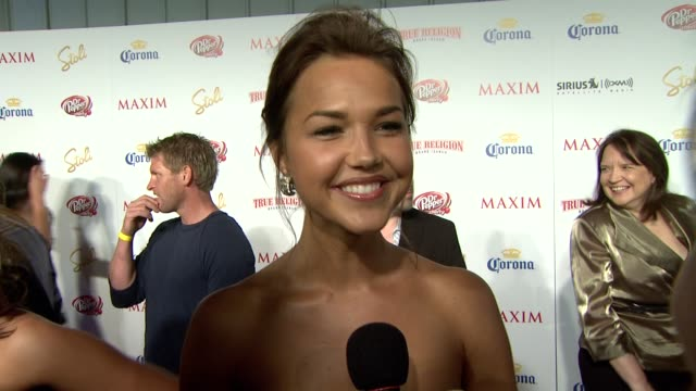 Arielle Kebbel on being on the list on what makes someone hot on who she liked seeing on the list on the party and on Maxim Hot 100's 10th birthday...