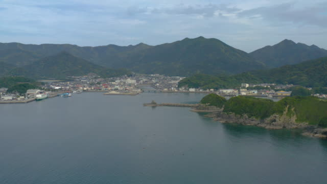arikawa city and port in nakadori island aerial view - satoyama scenery stock videos and b-roll footage