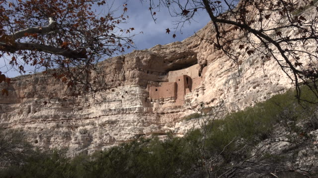 arizona montezuma castle with leaf frame.mov - cliff dwelling stock videos & royalty-free footage