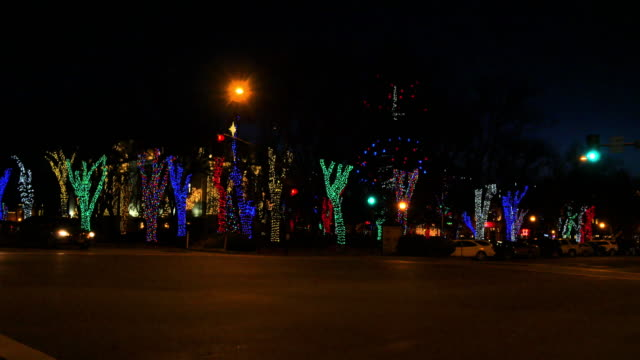 arizona prescott christmas lights and cars.mov - prescott arizona stock videos & royalty-free footage