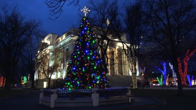 arizona prescott christmas tree and courthouse zooms in.mov - prescott arizona stock videos & royalty-free footage