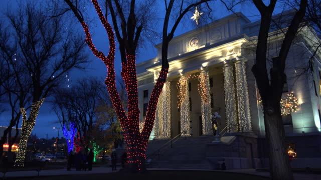 arizona prescott courthouse and trees with lights.mov - prescott arizona stock videos & royalty-free footage