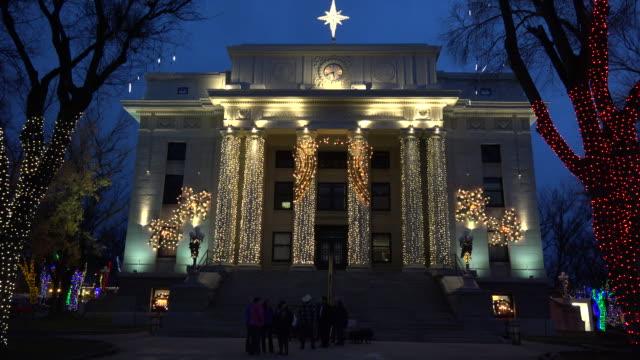arizona prescott courthouse facade at christmas.mov - prescott arizona stock videos & royalty-free footage