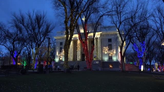 arizona prescott courthouse framed with christmas lights.mov - prescott arizona stock videos & royalty-free footage