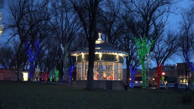 arizona prescott gazebo with christmas lights.mov - bandstand stock videos and b-roll footage