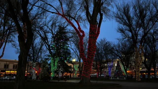 arizona prescott lights on christmas trees - prescott arizona stock videos & royalty-free footage