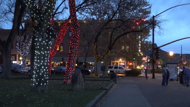 arizona prescott sidewalk at christmas.mov - prescott arizona stock videos & royalty-free footage
