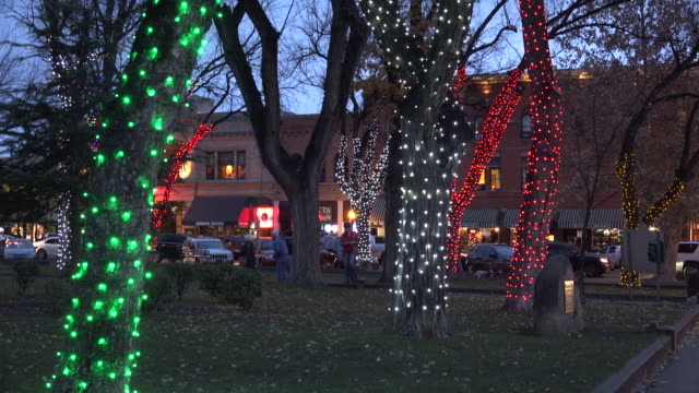 arizona prescott trees with christmas lights.mov - prescott arizona stock videos & royalty-free footage