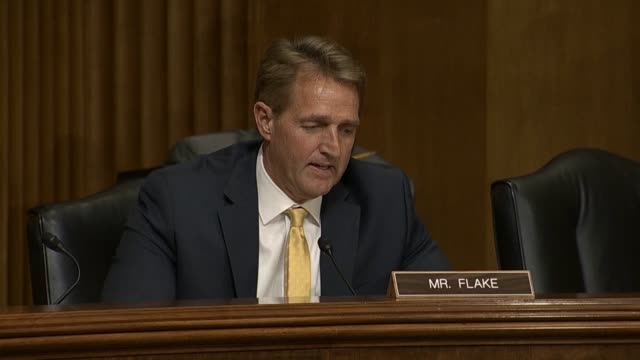 Arizona Senator Jeff Flake says at a Senate Foreign Relations Committee hearing that Russian news agencies had reports about Russian President Putin...