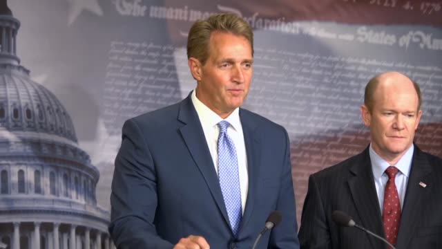 Arizona Senator Jeff Flake says that a nonbinding bipartisan resolution was offered stating that the Senate stands with US intelligence and does not...