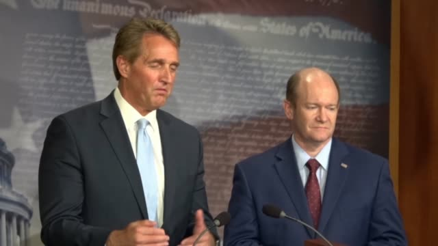 Arizona Senator Jeff Flake tells reporters at a news conference after a bipartisan bill to protect special counsel Robert Mueller was objected to...