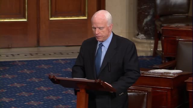 arizona senator john mccain engages in the floor debate over the nomination of judge neil gorsuch to sit on the supreme court saying that in response... - senate judiciary committee stock videos & royalty-free footage