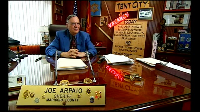 illegal immigrants row maricopa county two women and man seated on bench overlooking town skyline joe arpaio interview sot civil rights campaigners... - festzelt stock-videos und b-roll-filmmaterial