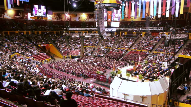 WS Arizona State University graduation ceremony assembly inside Wells Fargo Arena stadium / Phoenix, Arizon, USA