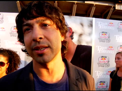 arj barker on travis pastrana at the xgames 'red bull toasted' honors action sports icon travis pastrana at hollywood ca - arj barker stock videos & royalty-free footage