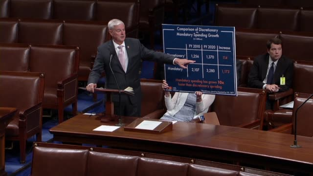 Arkansas Congressman Steve Womack compares domestic discretionary and mandatory spending in debate on the Bipartisan Budget Act increasing the debt...