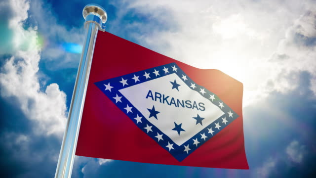 4k - arkansas flag | loopable stock video - arkansas stock videos & royalty-free footage