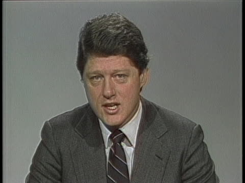 arkansas governor bill clinton on new teacher compentency test enacted as part of his education reform laws in interview clinton says if the teacher... - enacting stock videos & royalty-free footage