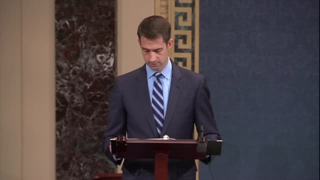 Arkansas Senator Tom Cotton quotes former Senator Joe Lieberman saying that abolishing ICE would lead to no border security and that open borders is...