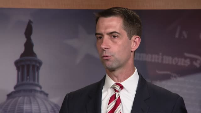 arkansas senator tom cotton says at a press conference with other republicans to oppose district of columbia statehood that dc was a city in the... - politics abstract stock videos & royalty-free footage
