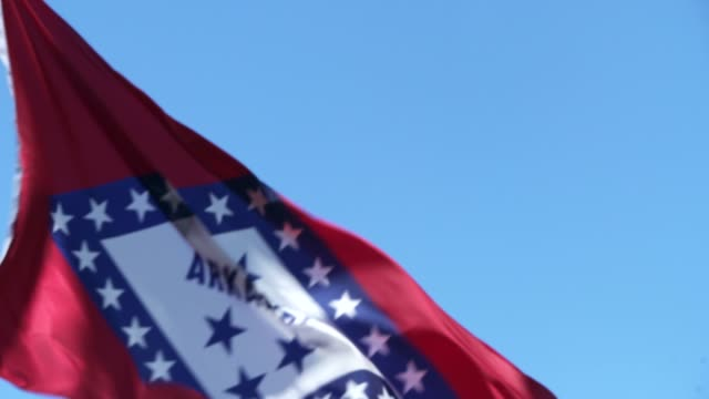 arkansas state flag waving in the breeze - arkansas stock videos & royalty-free footage