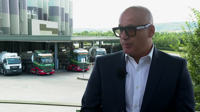 arla managing director ash amirahmadi saying the company has given its drivers a pay rise as well as opening an academy to attract young drivers - food and drink stock videos & royalty-free footage