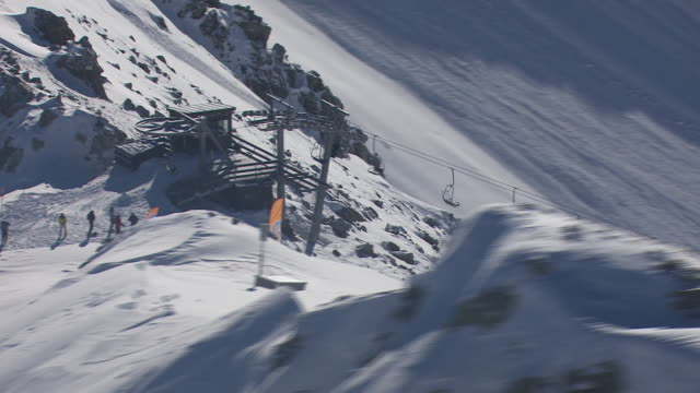 Arlberg - Skiers and cable cars from above 02