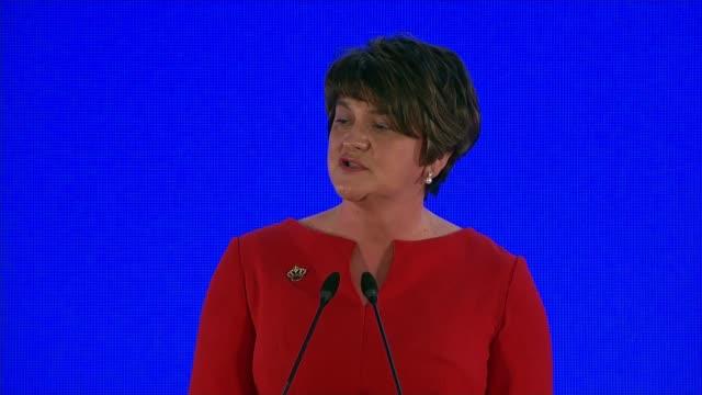 Arlene Foster addreses Arlene Foster MLA speech SOT re increased interest in the DUP / 2017 General Election / Unionism / Nigel Dodds / Brexit /...