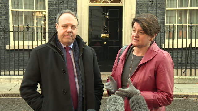 arlene foster and nigel dodds leave 10 downing street before speaking to press, saying that a withdrawal agreement that works will depend on the... - dup stock-videos und b-roll-filmmaterial