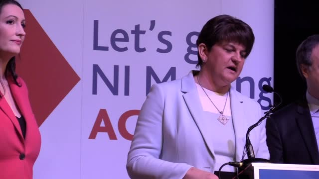 arlene foster and nigel dodds speak about brexit at the dup general election manifesto launch in belfast. the dup has said it will not support a... - dup stock-videos und b-roll-filmmaterial