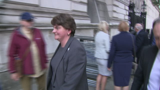 arlene foster and nigel dodds walking along whitehall - dup stock-videos und b-roll-filmmaterial