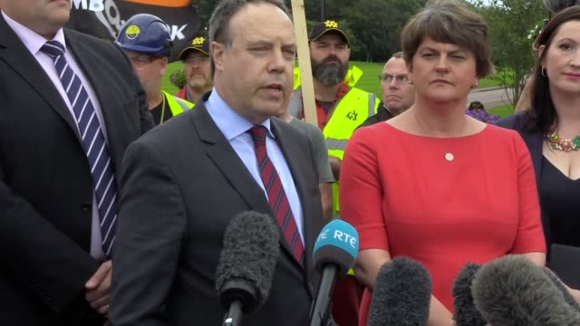 arlene foster discusses the backstop and nigel dodds discusses the confidence and supply arrangement after meeting the uk prime minister in stormont... - stormont stock videos and b-roll footage