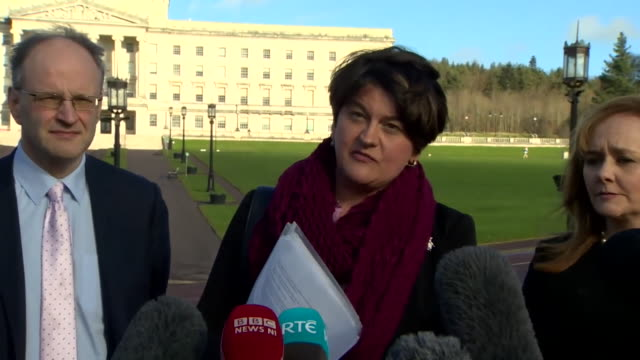 "arlene foster, dup leader, outside stormont in belfast says about theresa may and brexit ""the backstop needs to be replaced, that is her mandate and... - dup stock-videos und b-roll-filmmaterial"