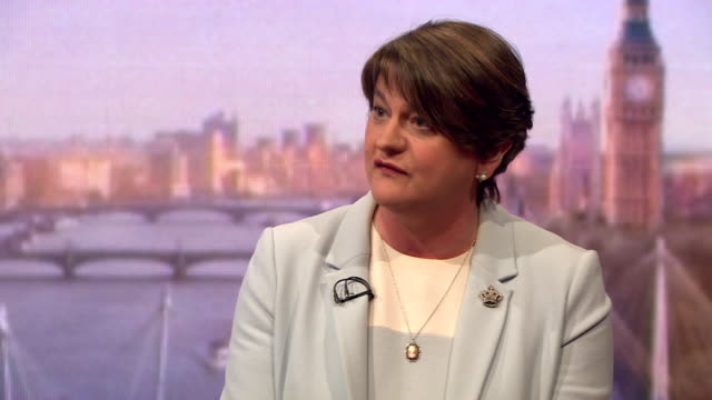 arlene foster saying if the dup voted in favour of theresa may's brexit deal, conservative leave voters would lose faith in the party and ensure... - dup stock-videos und b-roll-filmmaterial
