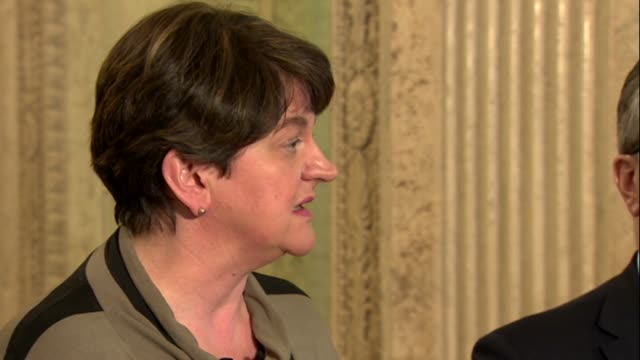 arlene foster saying it is important the dup move forward in talks with sinn fein to find a fair and balanced deal that will end the deadlock in... - stormont stock videos and b-roll footage