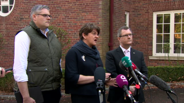 arlene foster saying there is a desire to get stormont running again and enter negotiations in good faith - transparent stock videos & royalty-free footage
