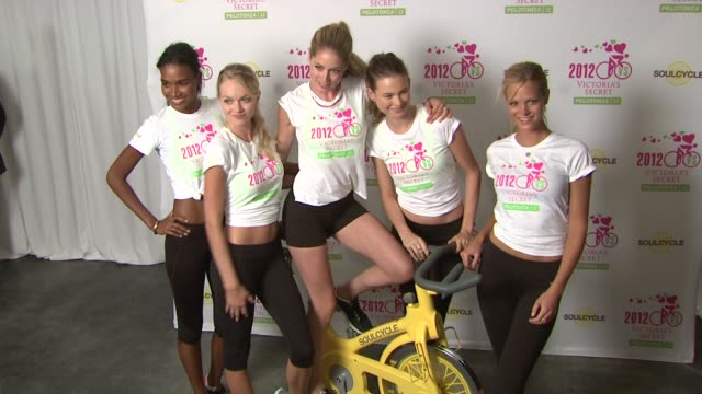 arlenis sosa lindsay ellingson doutzen kroes behati prinsloo and erin heatherton at victoria secret 2nd annual supermodel cycle benefiting cancer... - supermodel stock videos and b-roll footage