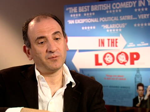 armando iannucci on his favourite piece of swearing in the movie at the in the loop interviews at london - in the loop 2009 film stock videos and b-roll footage