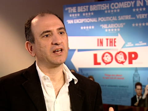 vídeos y material grabado en eventos de stock de armando iannucci on how much insight he had into the reality of politics and how things featured in the film have come true since production finished... - armando iannucci