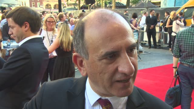 armando iannucci on how the film came at 'alan partridge: alpha papa' - world premiere at vue west end on july 24, 2013 in london, england (footage... - アーマンド・イアヌッチ点の映像素材/bロール