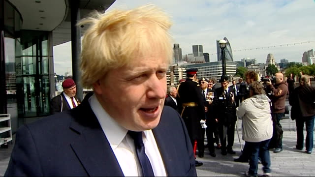 flag raising ceremony in london boris johnson interview sot on the importance of the forthcoming armed forces day / on the debt crisis in greece / on... - prison reform stock videos & royalty-free footage