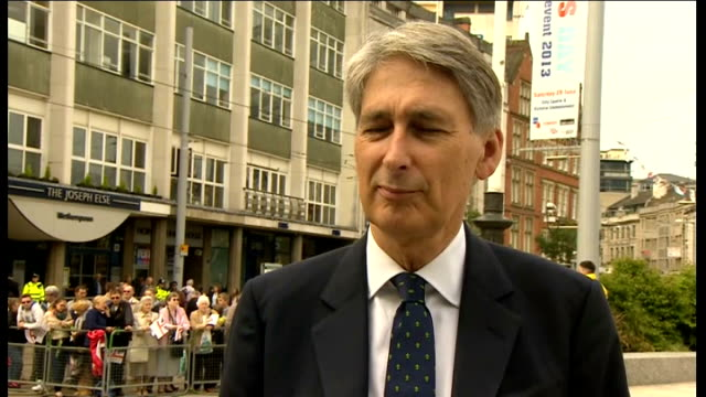 philip hammond interview england nottinghamshire nottingham ext philip hammond mp interview sot re armed forces day - nottinghamshire stock videos & royalty-free footage