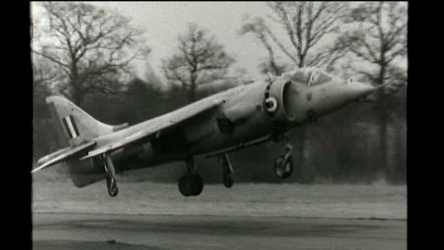 harrier aircraft make their last operational flight; armed forces: harrier aircraft make their last operational flight; tx 4.1.1968 b/w harrier jump... - b rolle stock-videos und b-roll-filmmaterial
