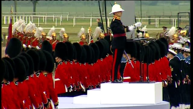 armed forces parade to mark queen's diamond jubilee; england: berkshire: windsor: ext general views of queen's forces parade including beefeaters... - diamond jubilee stock videos & royalty-free footage