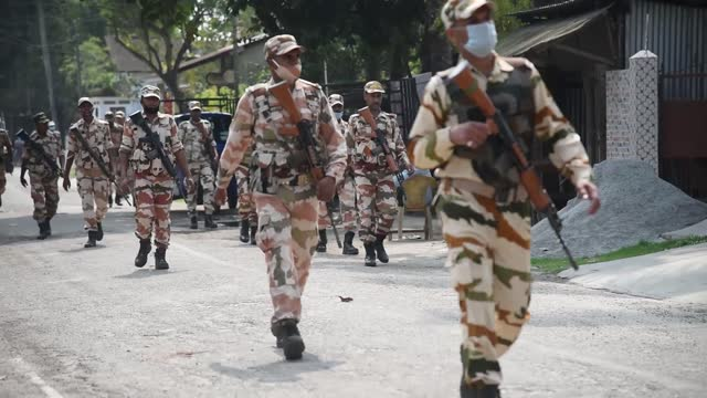 armed forces patrol on a street ahead of assam assembly elections on march 6, 2021 in barpeta, india. the assembly elections in the state of assam... - indian politics stock videos & royalty-free footage