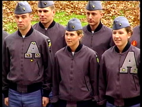 stockvideo's en b-roll-footage met shortage of recruits; usa: new york state: west point miltary academy: ext tms recruits at west point academy cms legs of recruits marching along cms... - military recruit