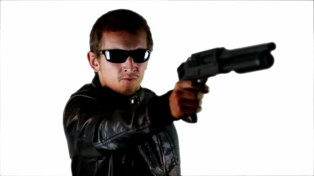 armed man - leather jacket stock videos & royalty-free footage